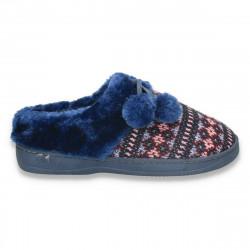 Papuci de casa tricotati, pentru femei, bleumarin - LS613