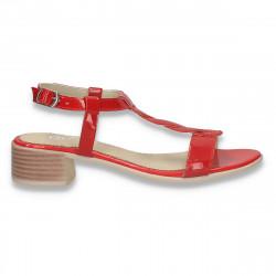 Sandale elegante din piele lacuita, cu toc mic, rosii - W507