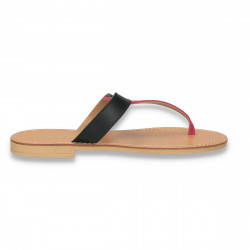 Papuci dama infradito, din piele, negru-fucsia - W508