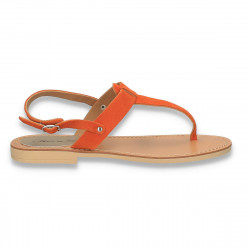 Sandale dama infradito, din piele intoarsa, portocalii - W509