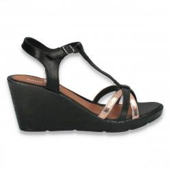 Sandale usoare din piele, pentru femei, negru-auriu - W510