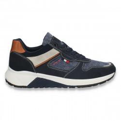 Incaltaminte sport pentru barbati, cu insertii jeans, bleumarin - W529