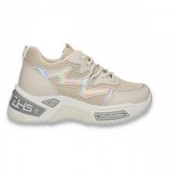 Sneakers trendy dama, cu talpa groasa, bej - W532