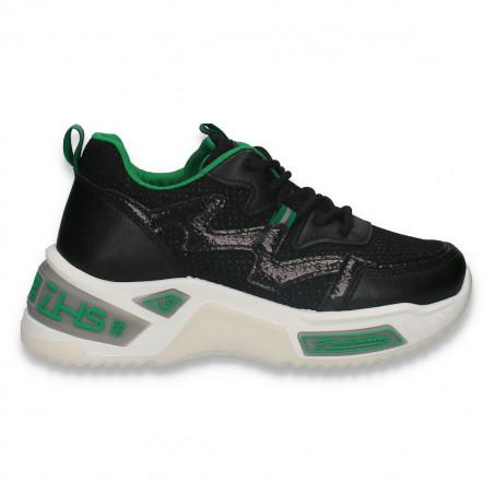 Sneakers trendy dama, cu talpa groasa, negri - W533