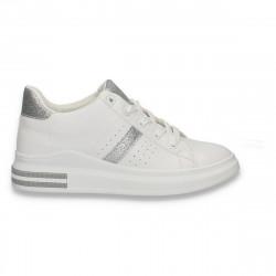 Sneakers moderni pentru dama, cu sclipici argintiu, albi - W534