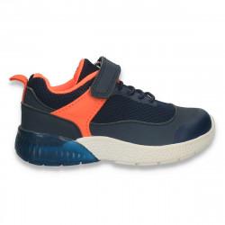 Incaltaminte sport, pentru baieti, bleumarin-portocaliu - W536
