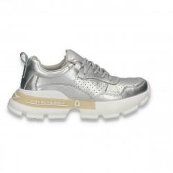Pantofi sport dama, din piele, cu talpa groasa, argintii - W541