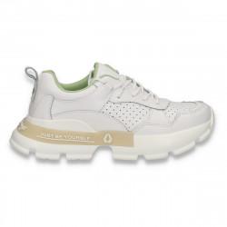 Pantofi sport dama, din piele, cu talpa groasa, albi - W542