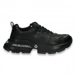 Pantofi sport dama, din piele, cu talpa groasa, negri - W544