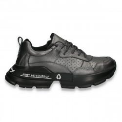 Pantofi sport dama, din piele, cu talpa groasa, gri - W544