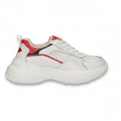 Pantofi sport dama, din piele si textil, cu talpa groasa, alb-rosu - W545