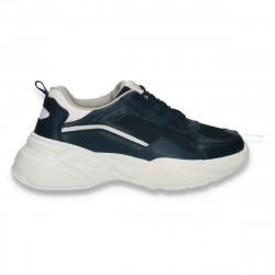Pantofi sport dama, din piele si textil, cu talpa groasa, bleumarin - W546