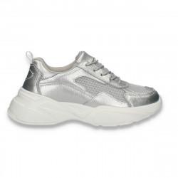 Pantofi sport dama, din piele si textil, cu talpa groasa, bleumarin - W547
