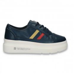 Pantofi sport-casual pentru femei, din piele, cu talpa groasa, bleumarin - W548