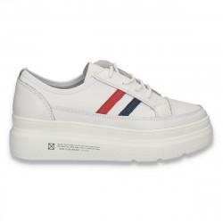 Pantofi sport-casual pentru femei, din piele, cu talpa groasa, albi - W549