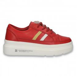 Pantofi sport-casual pentru femei, din piele, cu talpa groasa, rosii - W550