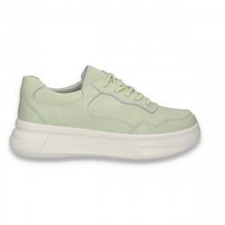 Pantofi casual pentru femei, din piele, cu talpa groasa, verde mint - W552