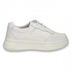 Pantofi casual pentru femei, din piele, cu talpa groasa, albi - W553