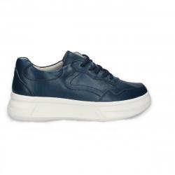 Pantofi casual pentru femei, din piele, cu talpa groasa, bleumarin - W554