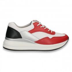Sneakers casual pentru femei, din piele, alb-rosu - W555