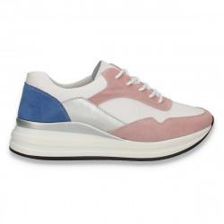 Sneakers casual pentru femei, din piele, alb-roz - W556