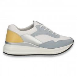 Sneakers casual pentru femei, din piele, alb-albastru deschis - W557