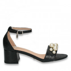 Sandale dama elegante, cu bareta si perle, negre - W75