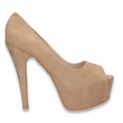 Pantofi femei extravaganti, cu varf decupat, bej - W564