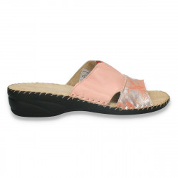 Saboti comozi, Natur Soft, din piele naturala, roz-argintiu - W568