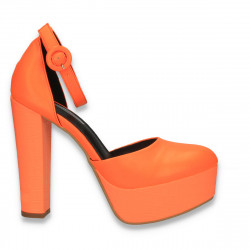 Pantofi femei extravaganti, cu toc inalt, portocaliu neon - W571