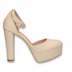 Pantofi femei extravaganti, cu toc inalt, bej - W572