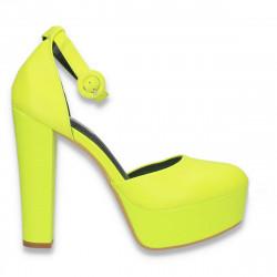Pantofi femei extravaganti, cu toc inalt, verde neon - W573