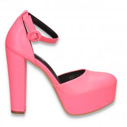 Pantofi femei extravaganti, cu toc inalt, roz neon - W574