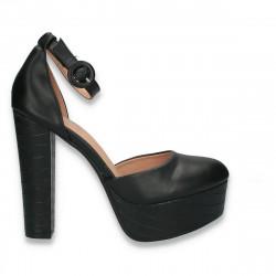 Pantofi femei extravaganti, cu toc inalt, negri - W575