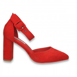Pantofi eleganti, cu varf ascutit si toc gros, rosii - W576