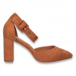 Pantofi eleganti, cu varf ascutit si toc gros, camel - W577