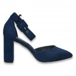 Pantofi eleganti, cu varf ascutit si toc gros, bleumarin - W578