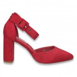 Pantofi eleganti, cu varf ascutit si toc gros, fucsia - W579
