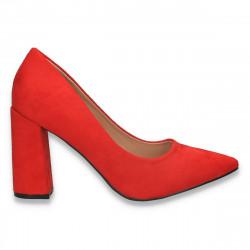 Pantofi eleganti, cu toc gros, rosii - W580