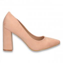 Pantofi eleganti, cu toc gros, roz - W582