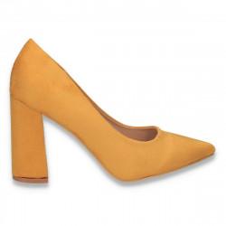 Pantofi eleganti, cu toc gros, galbeni - W583