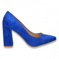 Pantofi eleganti, cu toc gros, albastri - W585