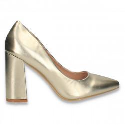 Pantofi eleganti, cu toc gros, aurii - W587