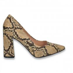 Pantofi eleganti, cu toc gros, snake print - W588
