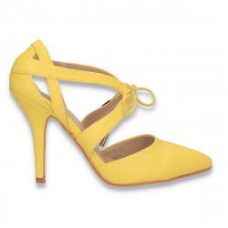 Pantofi eleganti, cu siret si toc stiletto, galbeni - W589