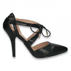 Pantofi eleganti, cu siret si toc stiletto, negri - W590