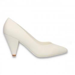 Pantofi eleganti, cu toc mic, albi - W594