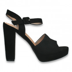 Sandale elegante, cu toc gros, negre - W595