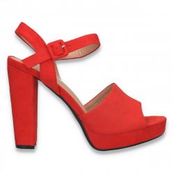 Sandale elegante, cu toc gros, rosii - W596