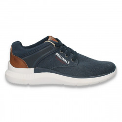 Pantofi sport pentru barbati, din panza, bleumarin  - W601